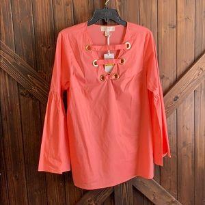 Bell Sleeve Coral Michael Korda Shirt -NWT
